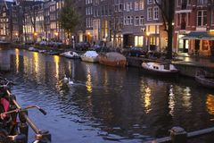 Chanel water Amsterdam Nederland evening. Beautiful water Amsterdam Royalty Free Stock Image