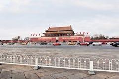 Chang An Avenue con una opinión sobre el museo del palacio, Pekín, China Foto de archivo libre de regalías