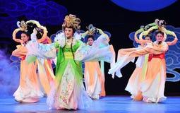 Chang e lata księżyc jest jeden cztery magistrali chińczyka Jiangxi OperaBlue żakiet Obrazy Royalty Free