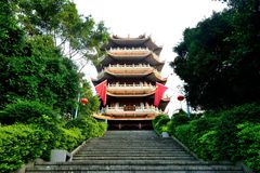 Chang`an Park Tower. Mid-Autumn Festival morning, Changan Park tower.Chang`an Park is located in Chang`an Town, Dongguan City, Guangdong Province, China Royalty Free Stock Photos