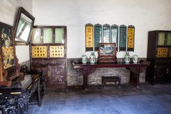 Chang's Manor Park scene- Interior furnishings of Chinese ancient house Royalty Free Stock Photos