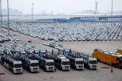 Changan Ford Automobile Co., two factory cars vehicle transport field Stock Images