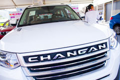 Changan kinesiska bilar på skärm på den Dongguan bilutställningen Arkivfoto