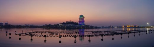 Changan tower at night, new landmark of Xi`an,Shaanxi,china royalty free stock photography