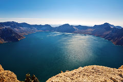The Changbai mountain heaven pool scenery Jilin Royalty Free Stock Photo