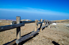 The wood guardrail lead to skyline in Changbai Mou Royalty Free Stock Images