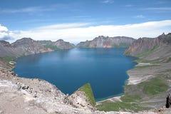 Changbaishan tianchi火山在阳光下 库存照片