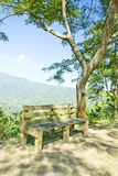 Changchai. Bench with a view of rain forest Stock Photo