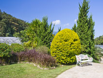 Changchai. Garden bench with blue sky Royalty Free Stock Image