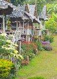 Changchai. Beautiful hut mountaineer homestay and flower Stock Image