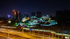 Changchun buddhist temple complex in the evening royalty free stock image