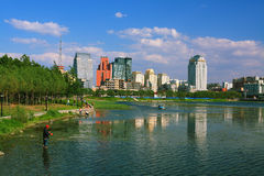 Changchun city. South lake parkr in changchun city of jilin china Royalty Free Stock Image