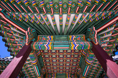 Changdeokgung Architecture ceiling. Colorful and traditional architecture of Changdeokgung palace in seoul, south korea Stock Images