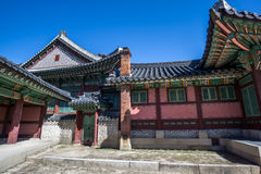 Changdeokgung Architecture. Colorful and traditional architecture of Changdeokgung palace in seoul, south korea Stock Photo