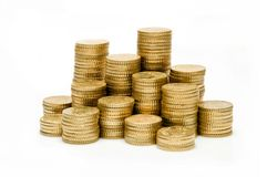 Change. The picture shows some heaps of fifty euro cent change in various height royalty free stock photography