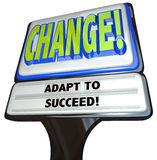 Change - Adapt to Succeed Restaurant Sign. A restaurant-type sign with the words Change and Adapt to Succeed, illustrating the help you can find to assist you in stock illustration