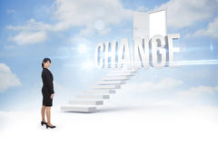 Change against steps leading to open door in the sky Stock Photography