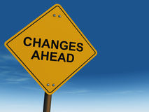 Change ahead road sign Stock Image