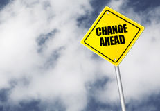 Change ahead sign. On cloudy sky royalty free stock image