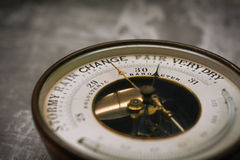 Change is in the air. Antique barometer pointing to change Stock Photos
