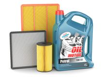 Change auto filters and motor oil Stock Photography