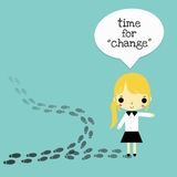Change for the better woman version. The businesswoman who choose the difference way that is change for the better Royalty Free Stock Photo