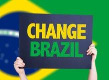 Change Brazil card with brazil flag background stock photo