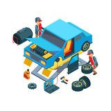 Change car wheels. Technicians working in auto service mechanical work fixing car details vector picture. Auto mechanic, repair car and technician service royalty free illustration