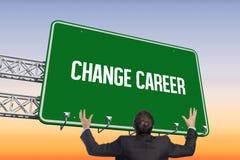 Change career against purple and orange sky. The word change career and gesturing businessman against purple and orange sky Royalty Free Stock Photo