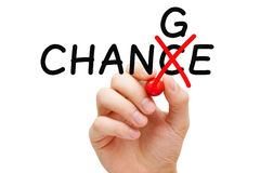 Change Chance Concept. Hand turning the word Chance into Change with red marker isolated on white Royalty Free Stock Image
