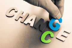 Change chance. Hand arrange wood letters as Change and Chance word concept Stock Image
