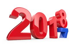 2017 2018 change concept. Represents the new year red and blue s. Ymbol. 3D illustration isolated on white background Stock Photography