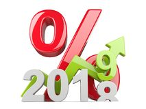 2018 2019 change concept. Represents the new year symbol with gr. Aph and big percent - view front. 3D illustration isolated on white background royalty free illustration