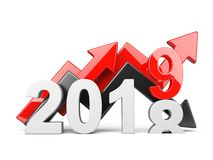 2018 2019 change concept. Represents the new year symbol with graph arrows - view front. 2018 2019 change concept. Represents the new year symbol with graph stock illustration