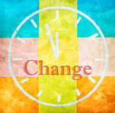 Change concept, word and drawing clock Stock Photo
