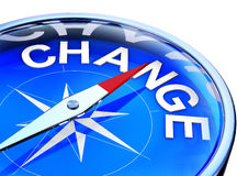 Change. 3D illustration of an blue compass with the word change Royalty Free Stock Images