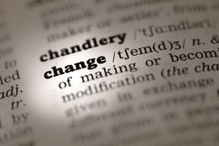 Change-Dictionary definition. Change Dictionary definition single word with soft focus Royalty Free Stock Photos