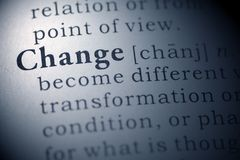Change. Dictionary definition of the word change Stock Photos