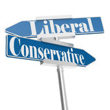 Change directions with conservative and liberal signs. 3D rendering Stock Photography