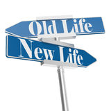 Change directions with old life and new life signs Royalty Free Stock Photography