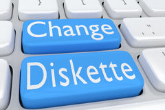 Change Diskette concept. 3D illustration of computer keyboard with the script Change Diskette on two adjacent pale blue buttons Stock Photo