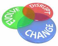 Change Evolve Disrupt Innovate New Idea Venn Circles. 3d Illustration Royalty Free Stock Photography