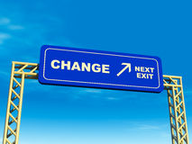 Change exit. Next exit to change, overhead billboard on a highway, 3d render against blue sky Stock Image