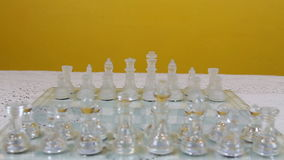 Change Of Focus On Chess Pieces In Starting Position On Board. Chess Pieces In Starting Position On Board Focus Changes From One Side To The Other stock video footage