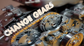 Change Gears Engine Evolve Shift Word. 3d Illustration Royalty Free Stock Photography