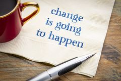 Change is going to happen - warning on napkin royalty free stock photo
