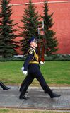 Change of the guard of honor. MOSCOW - APRIL 23: Change of the Guard of Honour at the tomb of the Unknown Soldier at the wall of Moscow Kremlin on April 23, 2012 Royalty Free Stock Photo