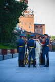 Change of the guard of honor of the Kremlin regiment at the tomb of the Unknown Soldier in the Alexander Garden Royalty Free Stock Photo