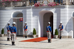 Change of a guard of honor at the Presidential palace in Bratislava, Slovakia Royalty Free Stock Images