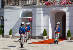 Change of a guard of honor at Presidential palace in Bratislava Stock Photos